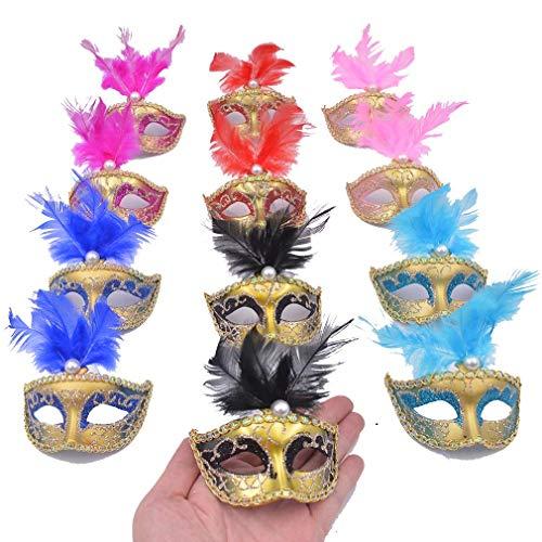 Mardi Gras Kid Mix - Yiseng Mini Masquerade Masks Party Decoration 12pcs Set Luxury Feather Small Masks Mardi Gras Halloween Decor Novlety Gifts (Mix 6 Color)