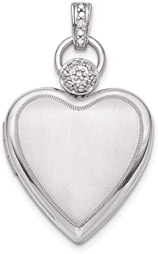 Sterling Silver 21 MM Heart Diamond Accent Satin Locket Charm Pendant