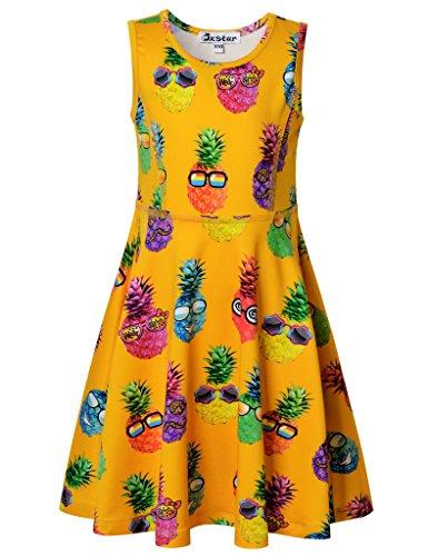Jxstar Big Girls Dress Sweet Fruit Print for Skater Pineapple Emoji Sleeveless Dress Pineapple Emoji 150]()
