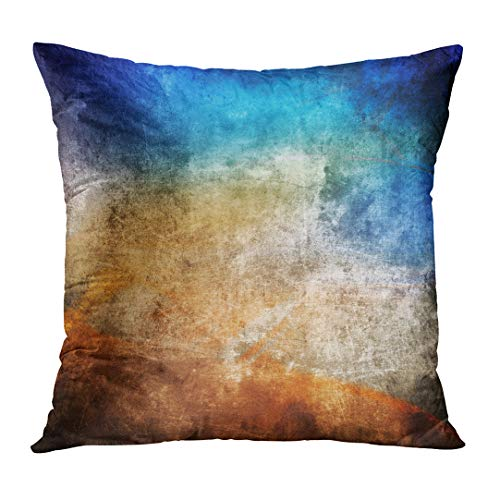 Covers Colorful Paint Color Blue and Brown Old Cracked Wall Graffiti Dark Hard Border Custom Square Size 20 x 20 Inches Home Decor Pillowcases Cushion ()