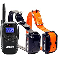 YISCOR Dog Training Collar, Shock/Vibration/Beep Remote 330Yds Range Rechargable and Waterproof Electric Collar Dog Collar for All Size Dogs (10LB-110LB) Two Dogs Set