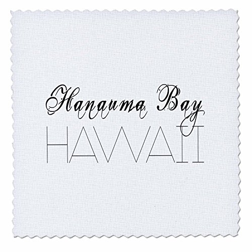3dRose Alexis Design - American Beaches - American Beaches - Hanauma Bay, Hawaii, black on white - 18x18 inch quilt square (qs_276038_7) by 3dRose