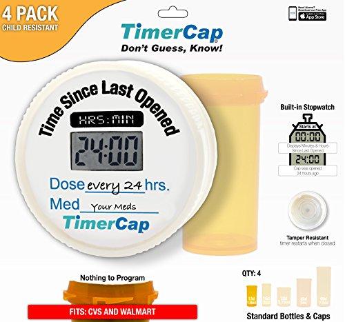 TimerCap (Stopwatch) - CVS & Walmart Style Pill Bottles (Qty 4 Standard) Child Resistant