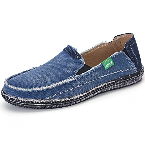 VILOCY Men's Slip on Deck Shoes Canvas Loafer Vintage Flat Boat Shoes Blue ()