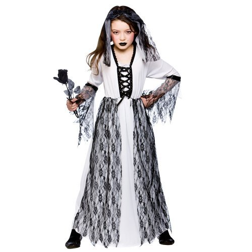 Living Dead Child Costumes ((M) Ghastly Ghost Bride Girls Zombies Costumes Kids Living Dead Halloween Trick Treat Fancy Dress Up Outfits by Wicked Wicked)