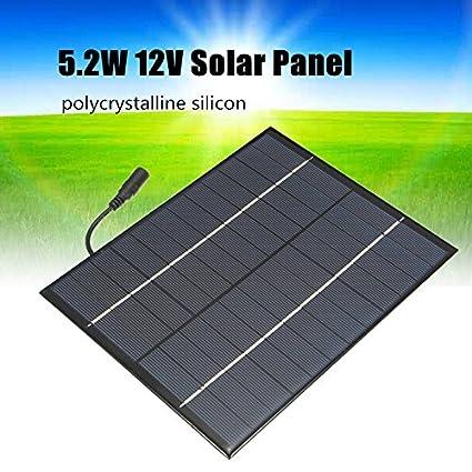 TOOGOO 12V 5.2W Mini panel solar Celulas solares policristalinas de silicio Sistema de Modulo de bricolaje de Epoxi Solar Cargador de bateria + salida ...