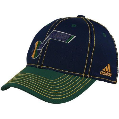 (NBA adidas Utah Jazz Navy Blue-Green Tactel Flex Hat (Small/Medium))