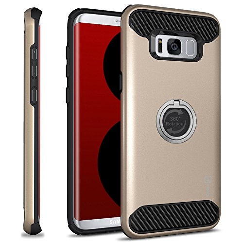 Accent Phone (CoverON RingCase Series for Galaxy S8 Plus Case, Protective Hybrid Phone Cover with Adjustable Finger Grip Ring and Carbon Fiber Accents - Champagne)