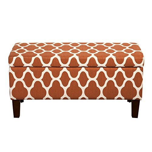 HomePop Large Upholstered Rectangular Storage Ottoman Bench with Hinged Lid, Orange Geometric