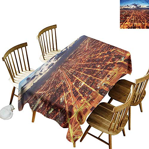 home1love Washable Tablecloth City Chicago Downtown Aerial Table Cover for Kitchen Dinning Tabletop Decoratio 60