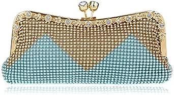 Fashion Luxury Ladies Clutch Bag Evening Bag Classic Chain Single Shoulder Bags - Blue