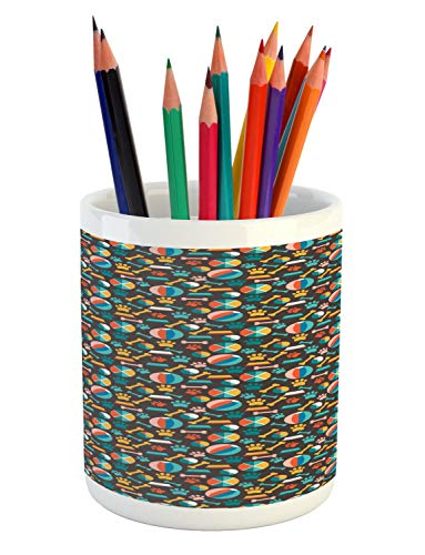 Ambesonne Dogs Pencil Pen Holder, Pattern with Puppy Food Paw Traces Bowls and Toys Veterinary Pet Lover Themed Print, Printed Ceramic Pencil Pen Holder for Desk Office Accessory, Multicolor
