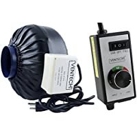 VenTech VT IF-4-B Inline Exhaust Blower Fan with Variable Speed Controller, 190 CFM, 4