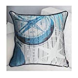 Brandream Blue Coastal Bedding Nautical Throw Pillow Covers 18 Inch Square Cushion Covers For Couch Chair Office Car Cushions