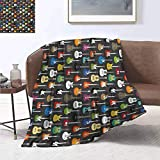 smllmoonDecor Guitar Weave Pattern Extra Long Blanket Grunge Instruments Strings Creativity Writing Songs Digital Classic Acoustic Music Summer Quilt Comforter 90