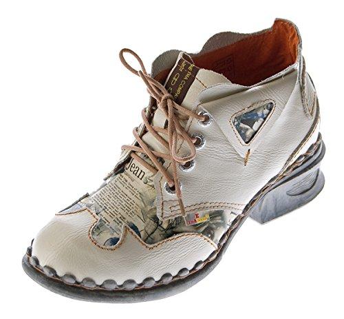 Creme para Blanco TMA Weiß cordones de Piel Zapatos mujer de XXAz0