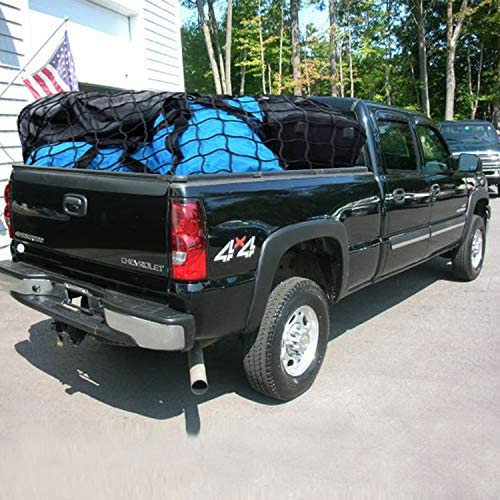 AxPower Bungee Cargo Net 4' x 6' Stretchable to eight' x 12' for Pickup Truck Bed Trailer Luggage Net Heavy Duty Tie-Down Mesh with 12 Pcs Hooks and Metal Carabiner Clips