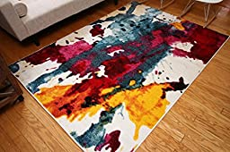 RADIANCE 5 Feet 2 Inch x 7 Feet 3 Inch Multicolor Art Collection Contemporary Modern Splat Wool Area Rug