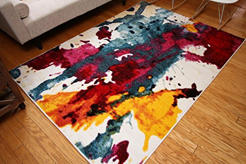 11 Modern Rug Collection - Feraghan/Radiance Collection ant6008_8x11 Art Contemporary Collection Modern Splat Wool Area Rug, 8' x 10', Yellow/Blue/Orange/White