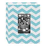 Pioneer Photo Albums CHEV-100 Chevron Fabric Frame Photo Album with 100 Pockets Hold, 4 x 6'', Aqua/White