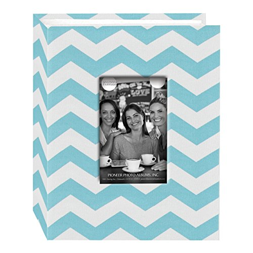 Pioneer Photo Albums CHEV-100 Chevron Fabric Frame Photo Album with 100 Pockets Hold, 4 x 6', Aqua/White
