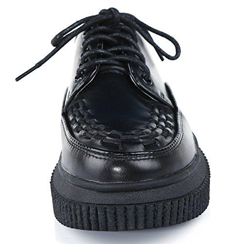 Punk Noir Baskets Plateforme Décontracté Lacets Cuir Roseg Femmes Creepers 8q67z7IP