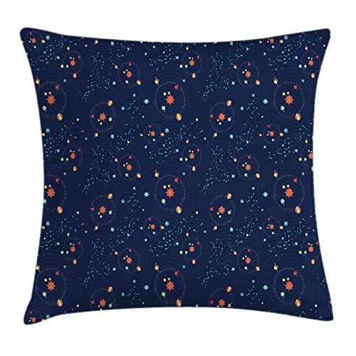 Ambesonne Astrology Throw Pillow Cushion Cover, Solar System Planet Astronomy Cosmos Galaxy Mysterious Universe, Decorative Square Accent Pillow Case, 16 X 16 inches, Dark Blue Orange Turquoise by Ambesonne