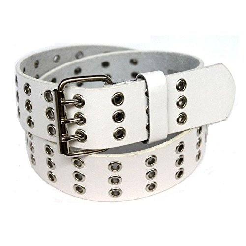 (Daily Basic Triple Hole Grommets Leather Belt with Shiny Buckle for Men and Women (L - 36/38, White))