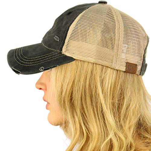 (CC Everyday Distressed Trucker Mesh Summer Vented Baseball Sun Cap Hat Black)