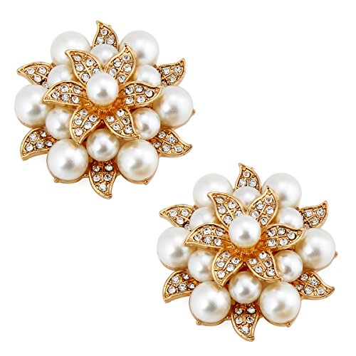 - ElegantPark AE Fashion Rhinestones Ivory Pearls Wedding Party Gold Shoe Clips 2 Pcs