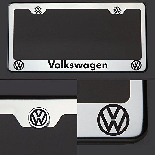 One Laser Engraved Black Volkswagen Mirror Stainless Steel License Plate Frame Holder Front Or Rear Bracket Steel Screw (Volkswagen Stainless Steel License Plate)