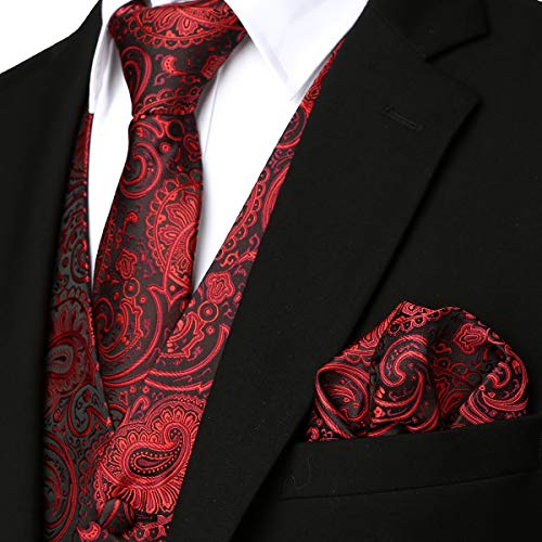 - ZEROYAA Mens Classic 3pc Jacquard Paisley Vest Set Necktie Pocket Square Waistcoat for Suit or Tuxedo ZLSV08 Burgundy Black X-Large