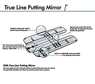 "Premium Alignment Putting Mirror with Our Exclusive Clear Adjustable Guide Rails - Leading Practice Aid for On-Line, Consistent Putting Stroke - Size : 17.5"" x 9.3"" - Golf Putting Aids/Putting Set"