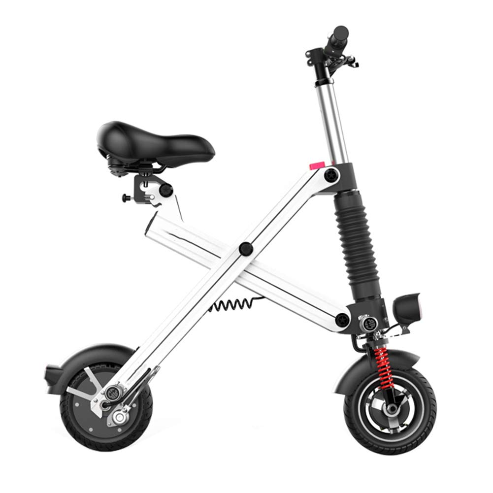 YWY Bicicleta Eléctricas,Adulto Plegable Bicicleta 240W 20 Km/H Batería De Litio 8AH,Aleación De Aluminio con Iluminación LED Unisex Coche Eléctrico,White