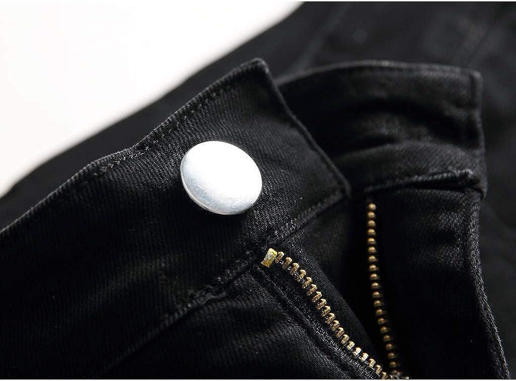 MEOILCE Mens Biker Jeans Slim Straight Fit Patchwork Denim Biker Pants for Men Moto Jeans Casual Trousers