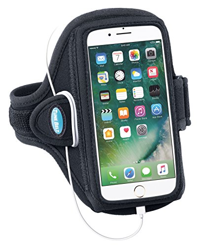 Armband for iPhone 6 6s 7 8 Plus, Samsung Galaxy Note 8 and S8 Plus - for Running, Jogging & Working Out - Water Resistant - for Women & Men [Black] See Fit Details by Tune Belt