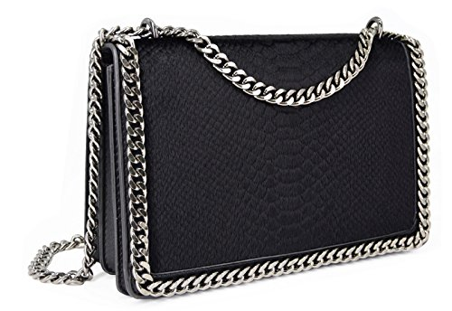 Crazychic Bag Snakeskin Embossed Fashion Python Fur Quilted Purse Snake Strap Faux Chains Messenger Handbag Clutch Leather Shoulder Black Padded Chain Crossbody Girl Women's rZwtqrC