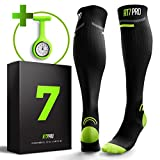 Compression Socks for Nurses + FREE Nurse Watch – BEST Gifts for Nurses – Perfect Nurse Accessories Kit – Graduated Fit to Prevent Varicose and Plantar Fasciitis – Nurse Compression Socks Women & Man