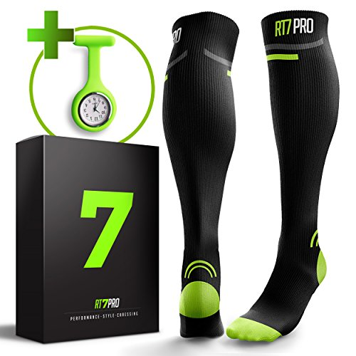 Compression Socks for Nurses + FREE Nurse Watch - BEST Gifts for Nurses - Perfect Nurse Accessories Kit - Graduated Fit to Prevent Varicose and Plantar Fasciitis - Nurse Compression Socks Women & Man