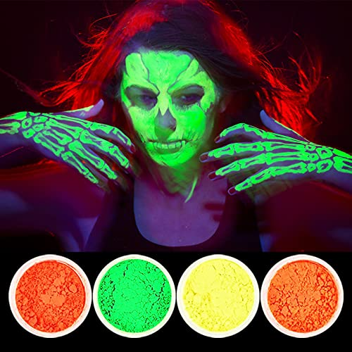 12 Colors UV Face Paint Kit, Body Fluorescent Painting Professional Brush, Halloween Glow Parties Costumes Theater Special Festivals Makeup