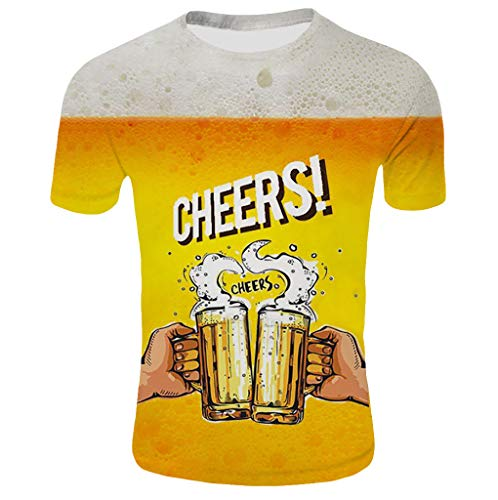 Togethor Men's Blouse Beer Festival 3D Printed Short Sleeves Comfort Summer Tees Cool Crewneck Tops