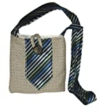 Small Recycled Passport or Hip Bag – Made from Recycled Suit and Tie (Multi Bag – Blue Stripe Tie), Bags Central