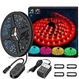 LED Strip Lights LED Lights Sync To Music, MINGER 16.4Ft/5M LED Light Strip 150 LED Lights SMD 5050 Waterproof Flexible RGB Strip Lights, LED Tape Lights, 12V Strip Lighting for Bedroom DC UL Listed