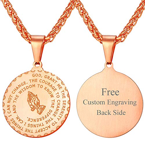 U7 Men Women Religious Praying Hands Necklace Personalized Christian Gift Rose Gold Plated Pendant with Chain 22
