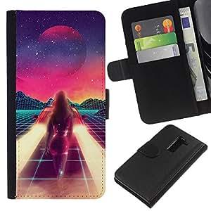 LG G2 / D800 / D802 / D803 / VS980 Modelo colorido cuero carpeta tirón caso cubierta piel Holster Funda protección - Abstract Painting Space Sci-Fi Purple Stars
