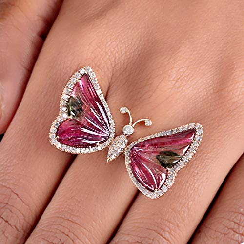 Genuine 11.04 Ct Pink Tourmaline Butterfly Ring Solid 14k Rose Gold Diamond Pave Fine Wedding Jewelry Valentine Day Gift For LOVE ()