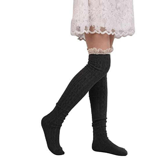 e3c399f70 Image Unavailable. Image not available for. Color  Lace Thigh High Socks  Winter Warm Over Knee Socks Leg ...