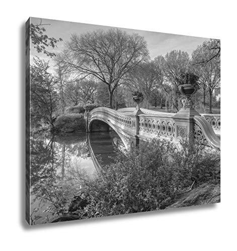 Ashley Canvas Bow Bridge in Spring Central Park, Kitchen Bedroom Living Room Art, Black/White 24x30, AG5606098