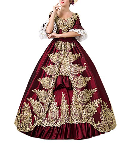 ROLECOS Womens Royal Retro Medieval Renaissance Dresses Lady Satin Masquerade Dress Wine -