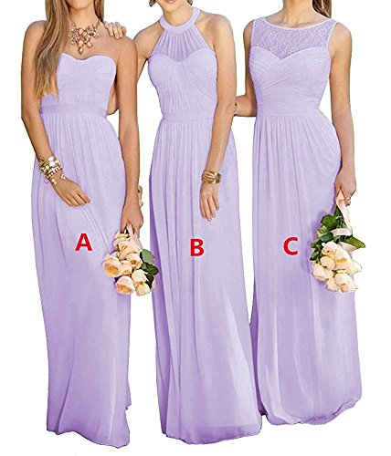 YinWen Women's Halter A-Line Ruched Lace-up Western Wedding Guest Chiffon Long Bridesmaid Dresses Lavender Style B - Free Day 2 Shipping